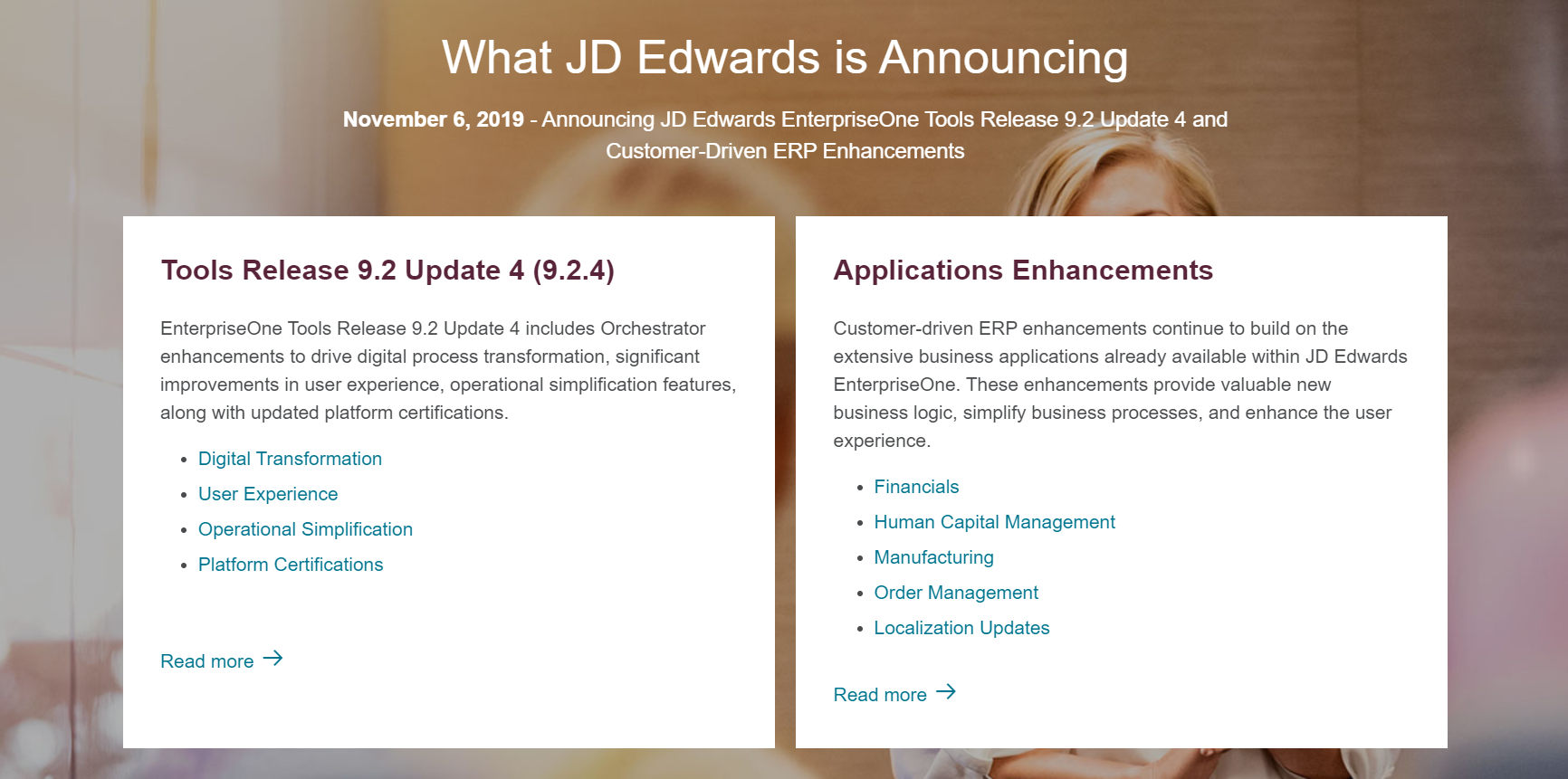 Announcing JD Edwards E1 Tools Release 9.2 Update 4 Image